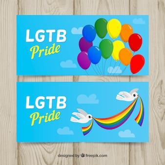 Banners de orgulho lgtb com balões e pombos