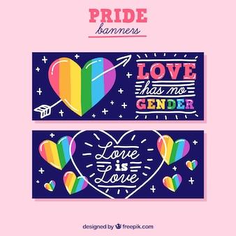 Banners de orgulho mão desenhada lgtb