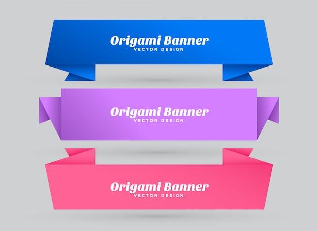 Banners de origami abstrato conjunto com espaço de texto