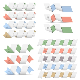 Banners de origami de modelos de design para infográficos