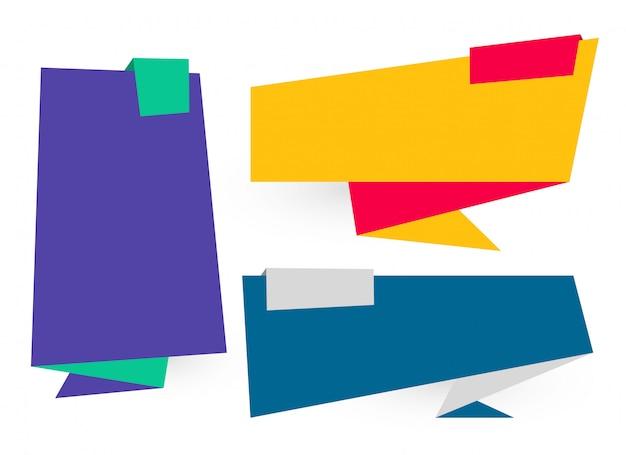 Banners de origami plana definida em cores diferentes