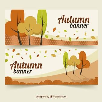 Banners de outono bonitos com design plano