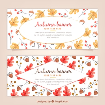 Banners de outono com aguarela com folhas e bolotas