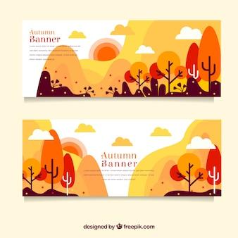 Banners de outono com árvores coloridas