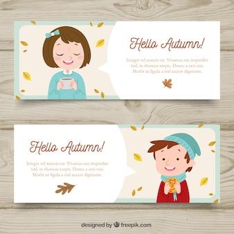 Banners de Outono com crianças fofos