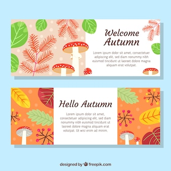 Banners de outono com folhas coloridas e cogumelos