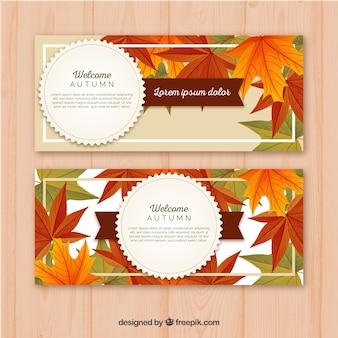 Banners de Outono com folhas coloridas