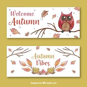 Banners de outono com folhas e coruja