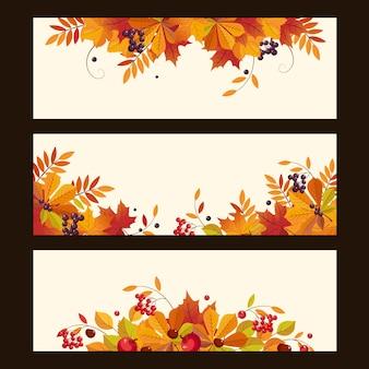 Banners de outono com folhas
