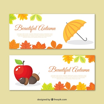 Banners de outono com guarda-chuva e maçã