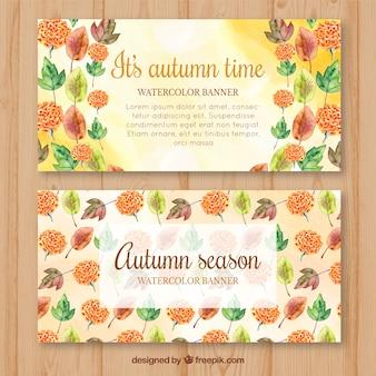 Banners de outono com pitada de folhas de aguarela