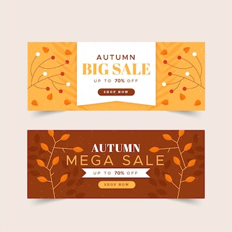 Banners de outono de design plano