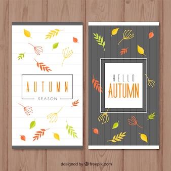 Banners de outono definido vertical com folhas coloridas