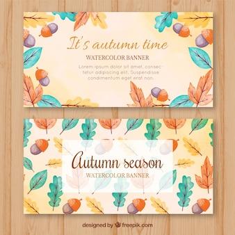 Banners de outono e aquarela com folhas coloridas e bolotas