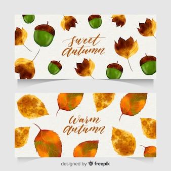 Banners de outono em estilo aquarela