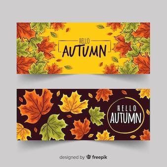 Banners de outono folhas de mão desenhada