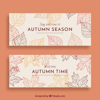 Banners de outono linda mão desenhada