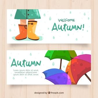 Banners de outono lindo com estilo mão desenhada