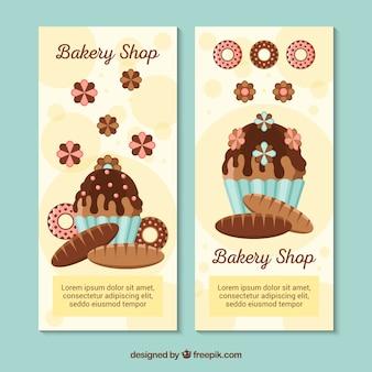 Banners de padaria com doces e pão em estilo plano
