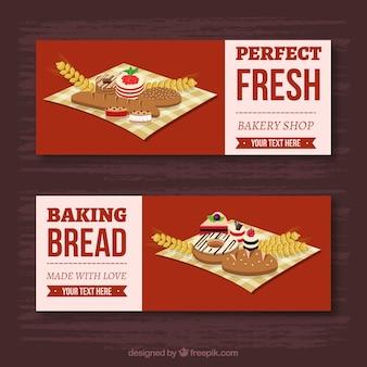 Banners de padaria com doces e pão