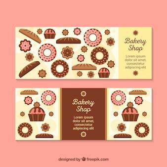 Banners de padaria com doces em estilo plano