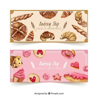 Banners de padaria com doces