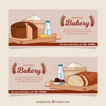 Banners de padaria com pão em estilo plano