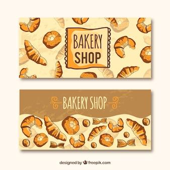 Banners de padaria com pastelaria e pão