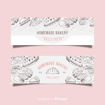 Banners de padaria desenhada de mão