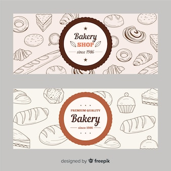 Banners de padaria desenhada mão realista