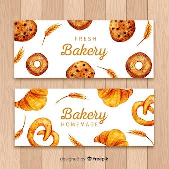 Banners de padaria em aquarela