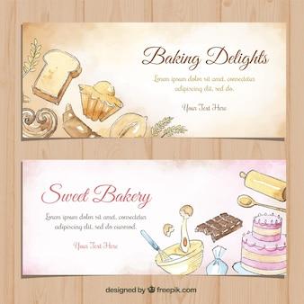 Banners de padaria em estilo aquarela
