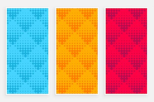 Banners de padrão abstrato de meio-tom em cores diferentes