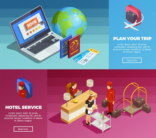Banners de página isométrica do hotel service 2