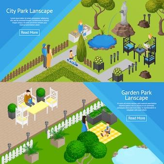 Banners de paisagem de parque de jardim