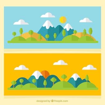 Banners de paisagens de montanha em design plano