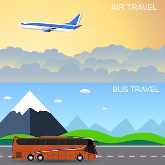 Banners de panorama de viagens