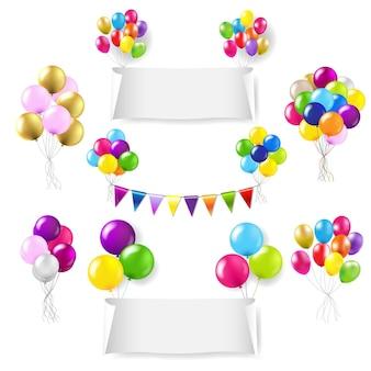 Banners de papel branco com balões coloridos, fundo branco com malha gradiente,