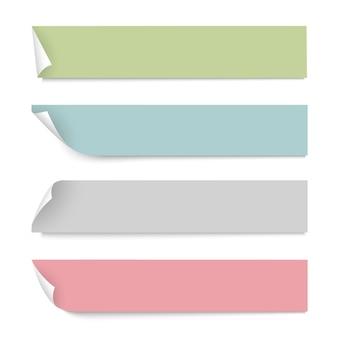 Banners de papel colorido com sombras