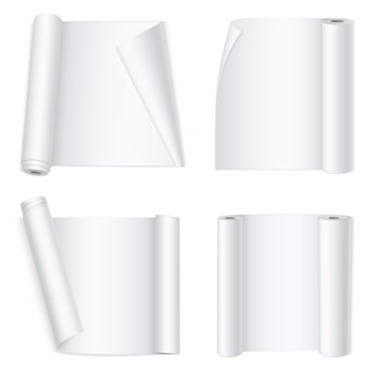 Banners de papel curvado branco