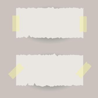 Banners de papel rasgado com fita adesiva.