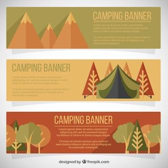 Banners de parques de campismo em design plano