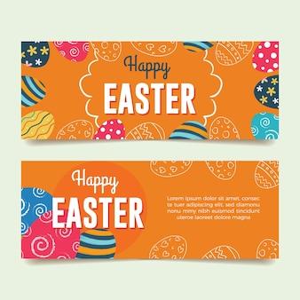 Banners de páscoa com ovos de páscoa coloridos