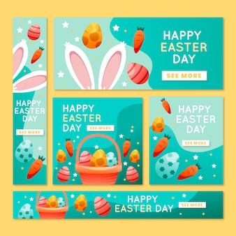 Banners de páscoa de orelhas e cenouras de coelho