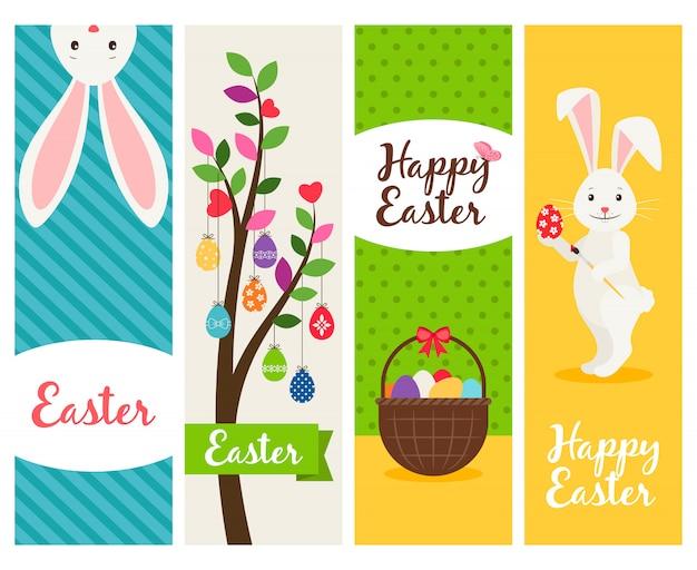 Banners de páscoa feliz. a bandeira da celebração da mola de ostern domingo ajustou-se com ovos e flores. ilustração vetorial