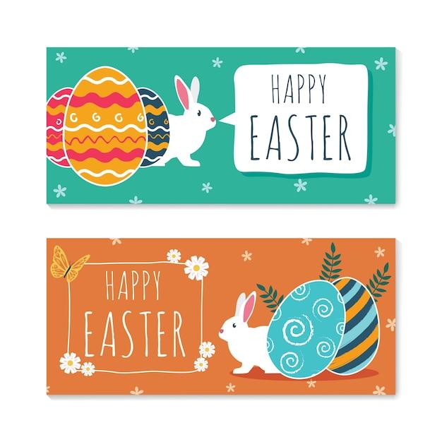 Banners de páscoa feliz com coelhos bonitos