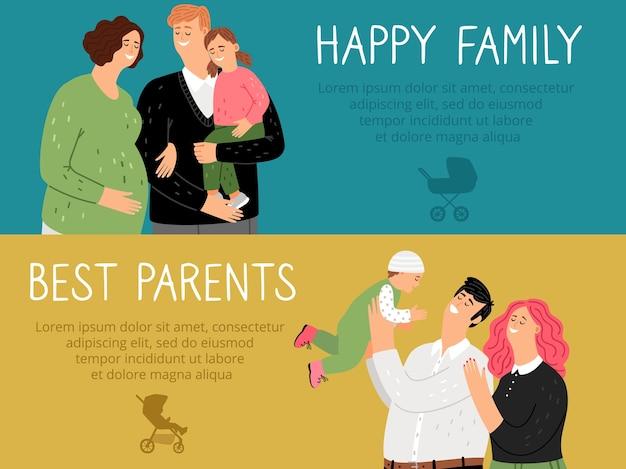 Banners de paternidade. melhores pais de familia feliz