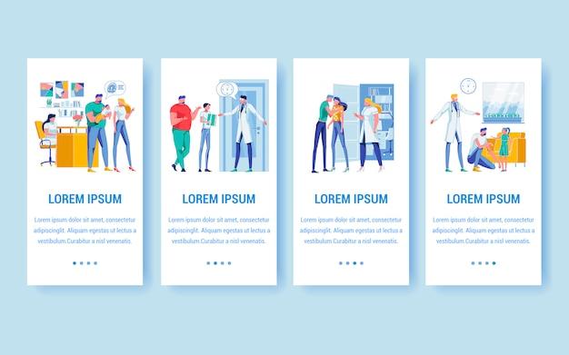 Banners de pediatria e cuidados familiares com espaço para texto