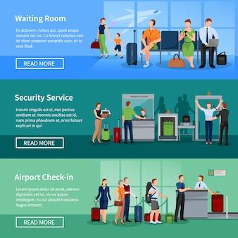 Banners de pessoas de aeroporto conjunto de passageiros na triagem de segurança de sala de espera