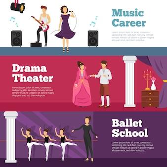 Banners de pessoas de teatro conjunto com escola de balé e carreira de música